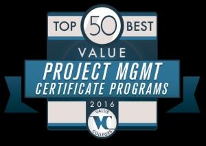 Top 50 Best Value Project Management Certificate Programs 2016